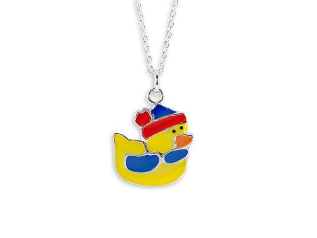 New .925 Sterling Silver Yellow Duck Pendant Necklace