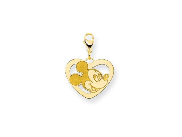 14K Gold Over Silver Mickey Mouse Disney Heart Charm
