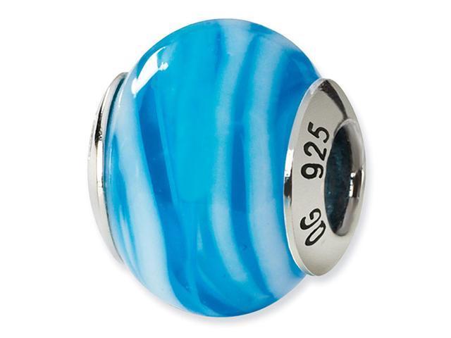 925 Silver White Blue Stripe Italian Murano Glass Bead