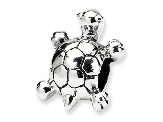 """925 Sterling Silver 1/4"""" Kids Child Charm Turtle Bead"""