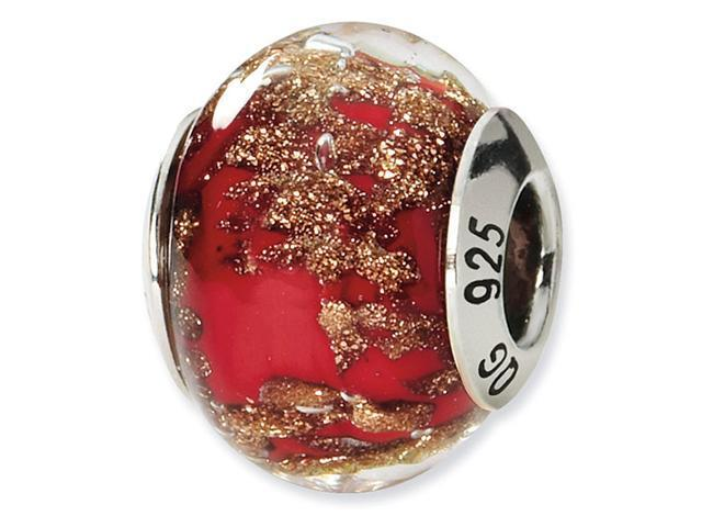 925 Silver Gold Red Speckled Italian Murano Glass Bead