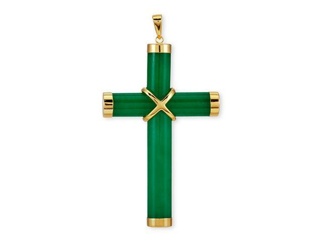Polished 14k Yellow Gold Solid Green Jade Cross Pendant