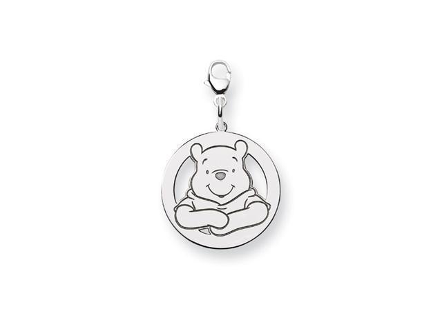 Sterling Silver 3/4 Inch Winnie Pooh Round Open Charm