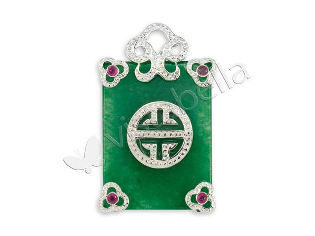 Natural Green Jade Red CZ Good Luck .925 Silver Pendant