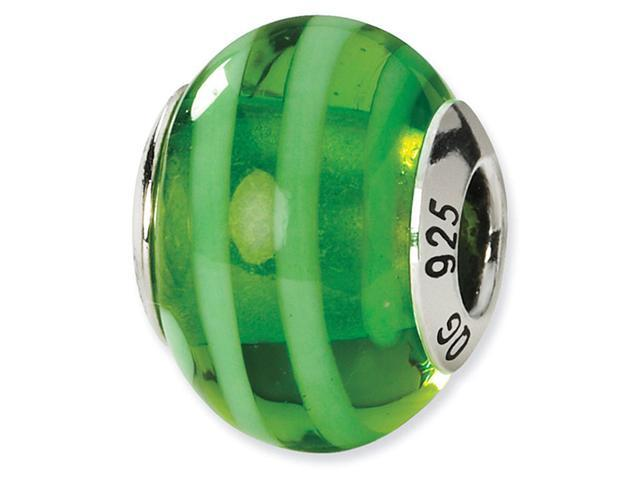 925 Silver Green Stripe Italian Murano Glass Charm Bead