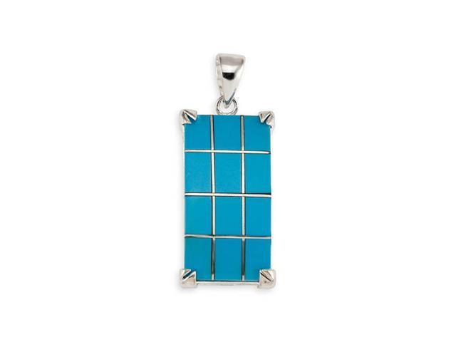 925 Sterling Silver Rectangular Turquoise Pendant