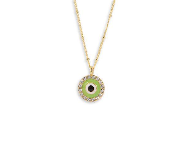 White CZ Lime Green Black Enamel Gold Tone Necklace