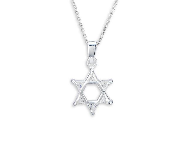 925 Sterling Silver Triangle CZ Star Of David Necklace