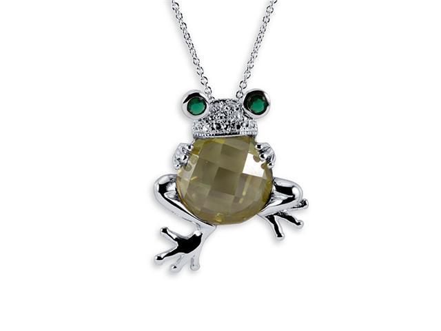 925 Sterling Silver Frog CZ Peridot Emerald Necklace