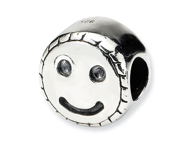 925 Sterling Silver Kids Smiley Face Round Charm Bead