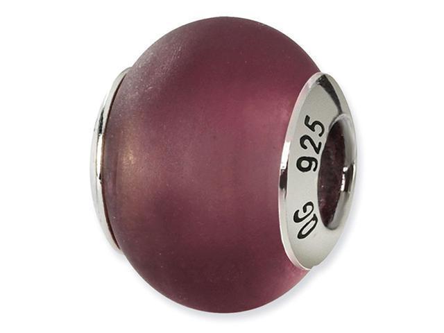 925 Silver Purple Matte Italian Murano Glass Charm Bead