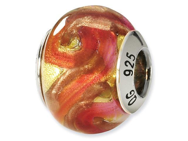 925 Silver Yellow Orange Gold Italian Murano Glass Bead