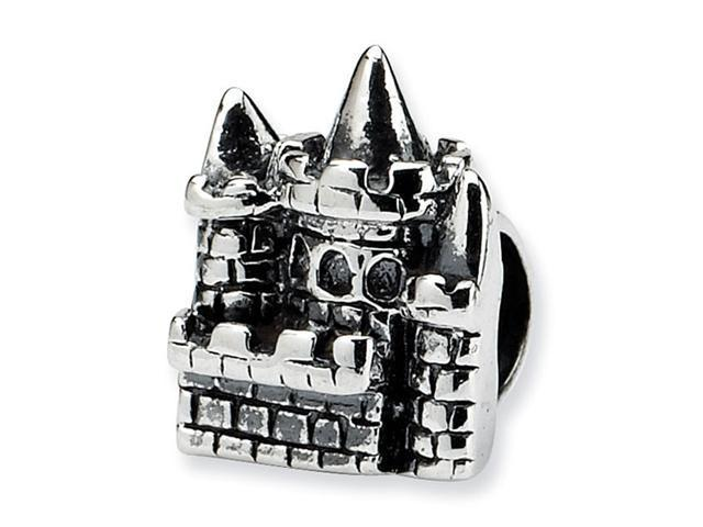 "925 Sterling Silver 1/4"" Kids Charm Castle Jewelry Bead"