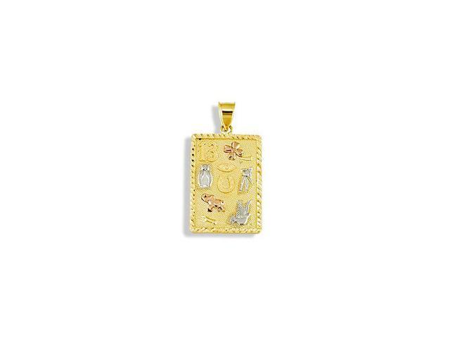 14k Tri Color Gold Lucky Charms Square Frame Pendant