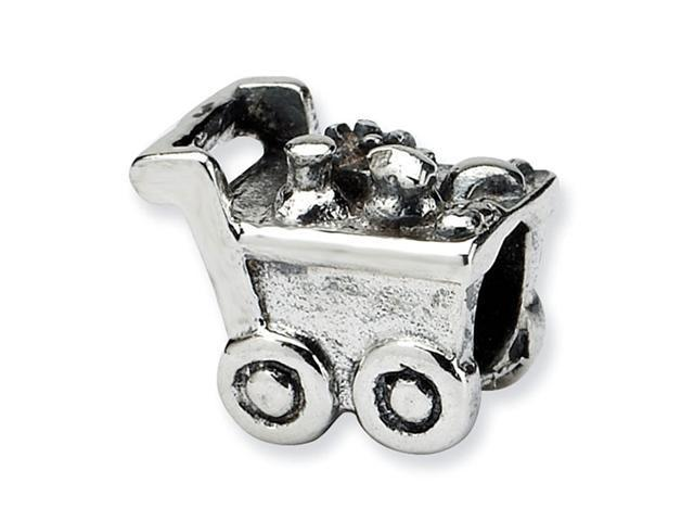 "925 Sterling Silver 3/8"" Kids Charm Shopping Cart Bead"