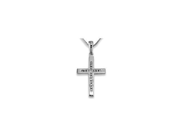 14k White Gold 0.06 Ct Round Diamond Cross Necklace