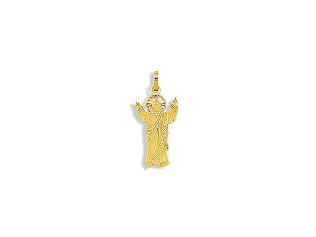 New 14k Solid Yellow Gold Jesus Image Charm Pendant