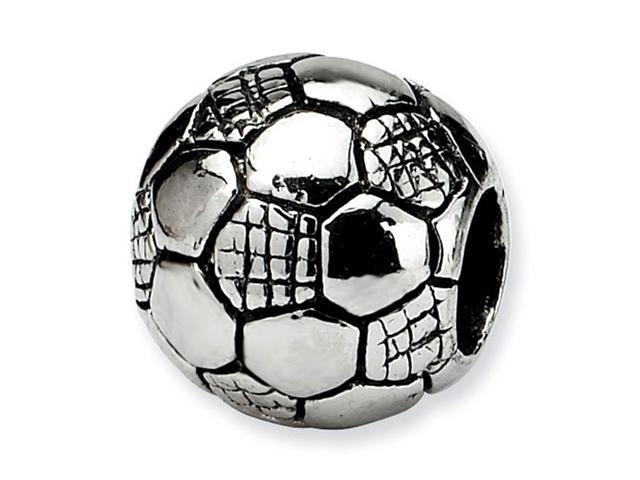 "925 Sterling Silver 3/8"" Kids Charm Soccer Ball Bead"