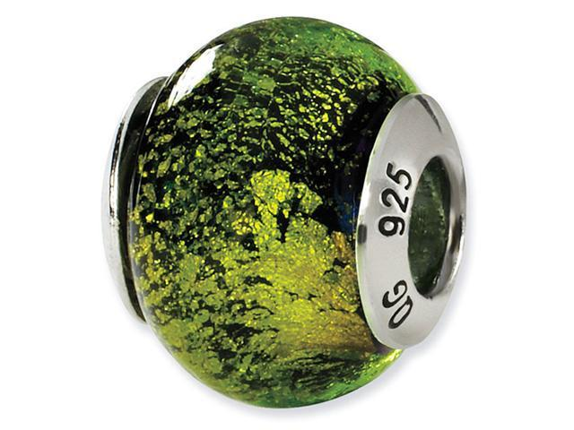 925 Silver Black Green Speckled Murano Glass Charm Bead
