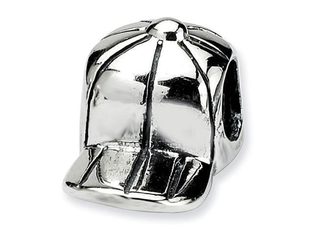 "925 Sterling Silver 3/8"" Kids Charm Baseball Hat Bead"