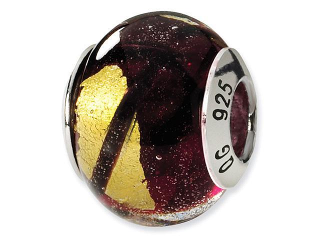 925 Silver Yellow Purple Black Murano Glass Charm Bead