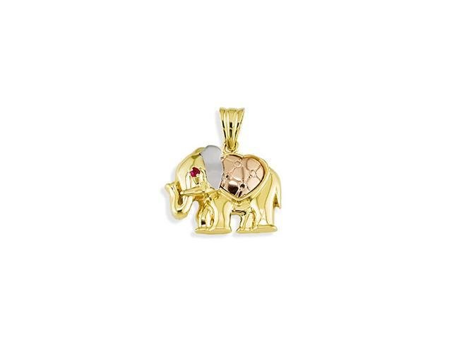 Polished 14k Gold Elephant Heart CZ Jewelry Pendant Charm