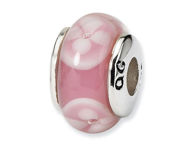 925 Sterling Silver Pink White Floral Glass Kids Bead