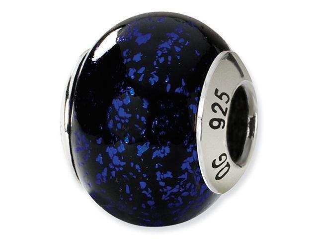 925 Silver Black Blue Speckle Italian Murano Glass Bead