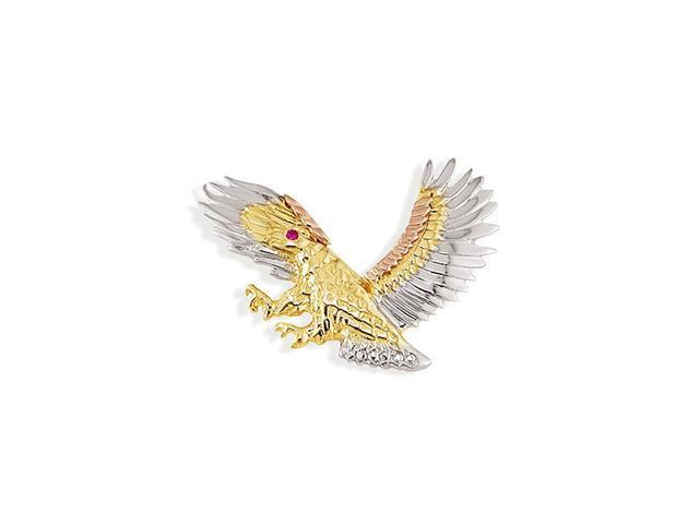 14k White Yellow Rose Gold Red CZ Flying Eagle Pendant