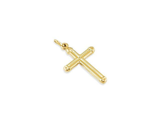 14k Yellow Gold Hollow Religious Cross Sacred Pendant