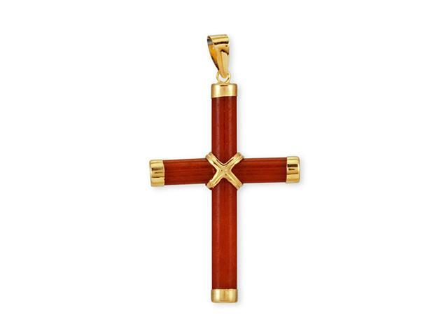 14k Yellow Gold Solid Polished Red Agate Cross Pendant