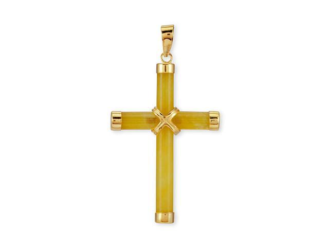 Polished 14k Solid Gold Yellow Jade Cross Pendant Charm