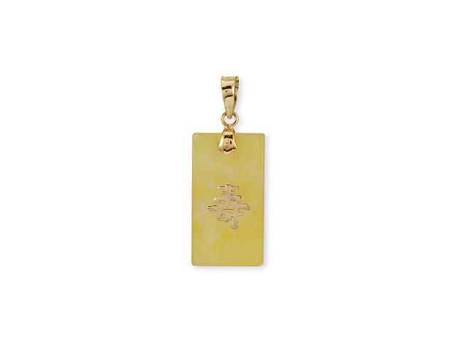 14k Solid Gold Long Life Rectangle Yellow Jade Pendant