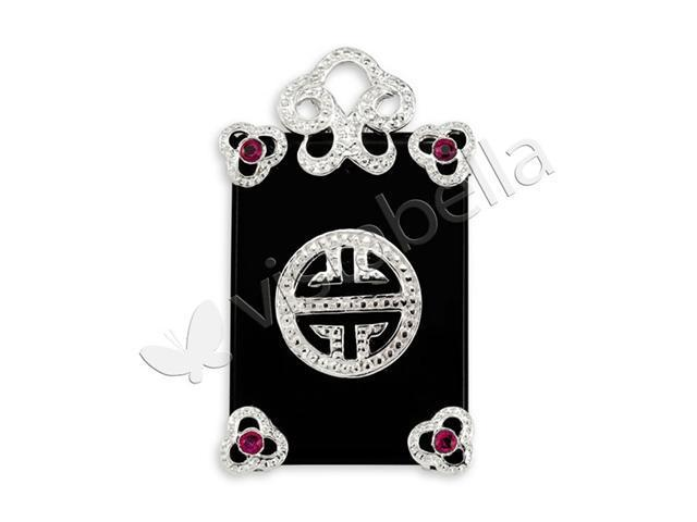 925 Sterling Silver Black Onyx Red CZ Good Luck Pendant