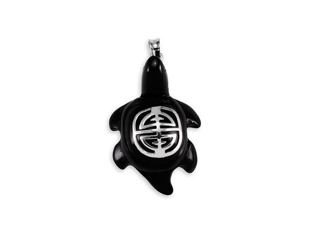 925 Sterling Silver Black Onyx Turtle Good Luck Pendant