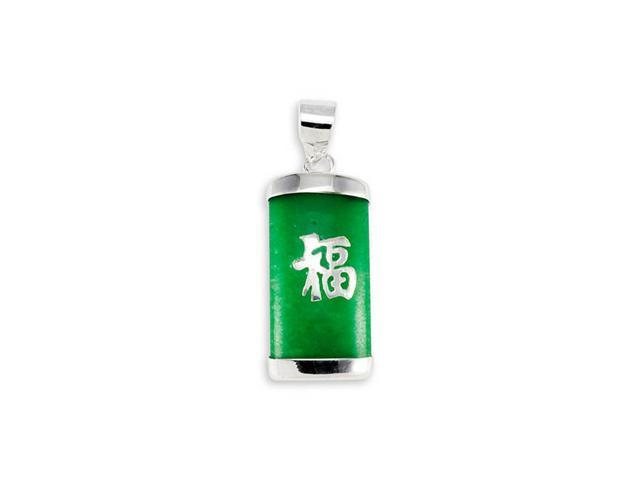 925 Sterling Silver Green Jade Lucky Charm Long Pendant