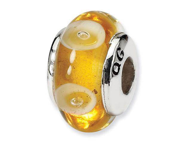925 Sterling Silver Kids Yellow Hand Blown Glass Bead