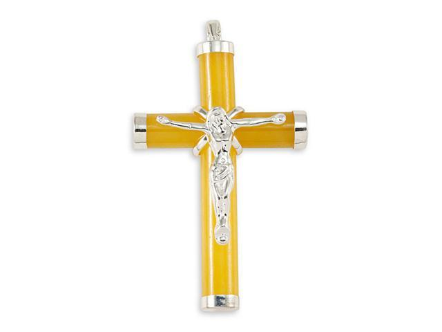 925 Sterling Silver Christ Yellow Jade Crucifix Pendant