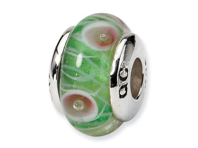 925 Sterling Silver Hand Blown Glass Kids Green Bead