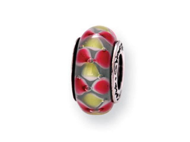 "925 Silver 1/4"" Pink Yellow Dots Hand Blown Glass Bead"