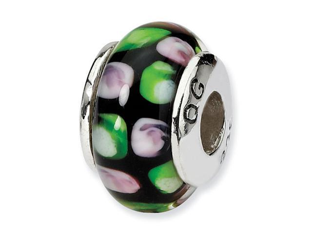 925 Sterling Silver Green Pink Black Glass Kids Bead
