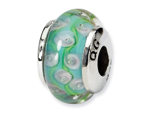 925 Silver Green Ribbons White Circles Kids Glass Bead