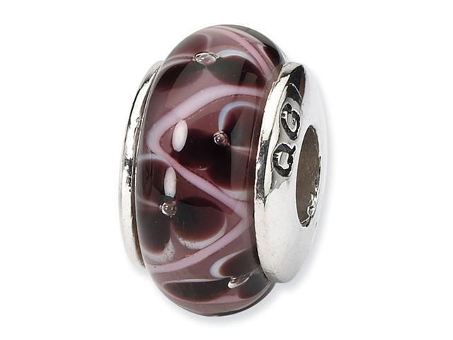 925 Silver Hand Blown Glass Purple Floral Jewelry Bead