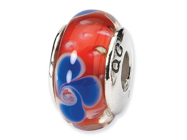 925 Silver Red Blue Floral Hand Blown Glass Charm Bead
