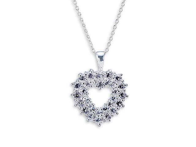 925 Sterling Silver White Heart Cubic Zirconia Necklace