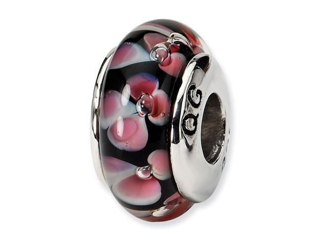 "925 Silver 1/4"" Black Pink Floral Hand Blown Glass Bead"