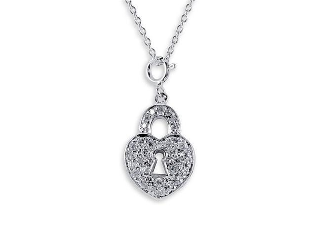 Solid 925 Sterling Silver CZ Lock Heart Charm Necklace