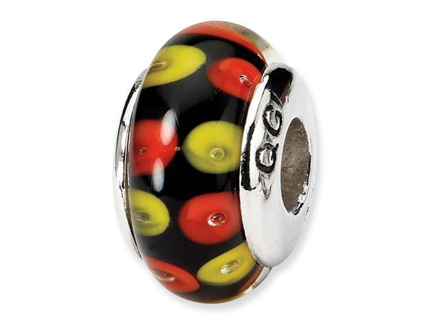 925 Silver Red Yellow Black Dots Hand Blown Glass Bead