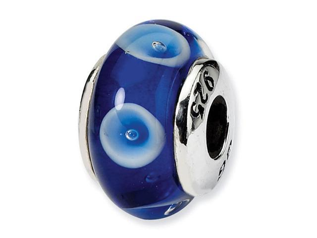 925 Sterling Silver Dark Light Blue Kids Glass Bead