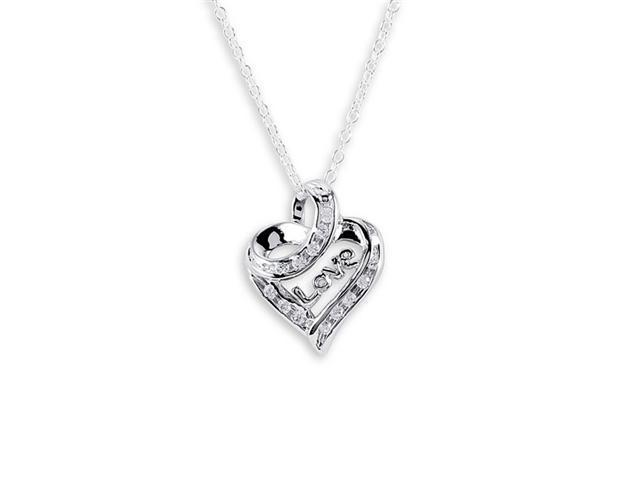 .925 Sterling Silver Love Open Heart White CZ Necklace